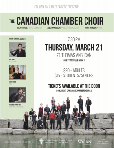 The Canadian Chamber Choir, presented by Goulbourn Jubilee Singers @ St. Thomas Anglican Church